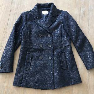 Ann Taylor Loft Sequin Navy Blue Wool Pea Coat